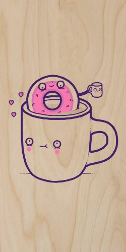 """""""Coffee With Friends"""" Funny Coffee Mug & Donut Drinking Brew Together - Plywood Wood Print Poster Wall Art"""