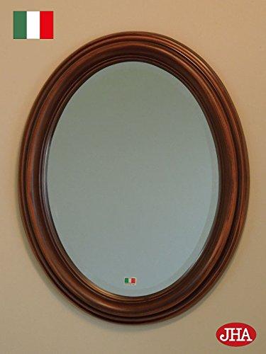 イタリア製 JHAアンティーク風水ミラー シンプル (ブラウン)楕円W365×H463 IE-2 壁掛け鏡 ウォールミラー オーバル