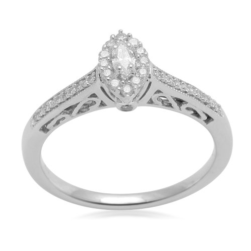 Sterling Silver White Diamond Marquise Promise Ring (1/4 cttw, I-J Color, I3 Clarity), Size 7