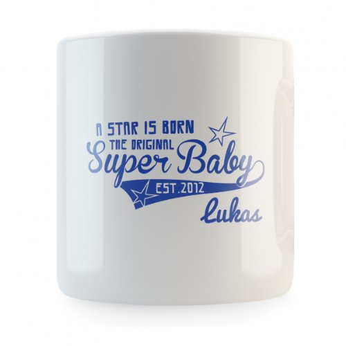 A Star is Born the original Super Baby (mit individuellem Namen) Spardose, Druckfarbe:blau