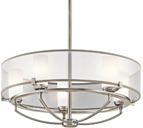 Kichler Lighting 42921CLP 5-Light  Saldana Pendant, Classic Pewter Finish with Etched Opal Glass Diffuser and Translucent Organza Fabric Shade