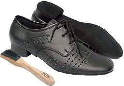 Very Fine Men\'s Salsa Ballroom Tango Latin Dance Shoes Style ST38 Bundle with Dance Shoe Wire Brush, Black Leather 9 M US Heel 1 Inch