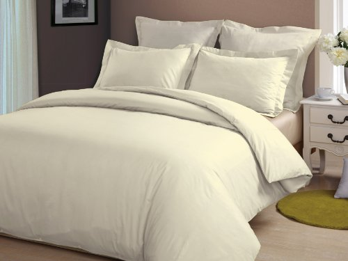 "Congo Linen 350 Tc Italian Finish Egyptian Cotton Luxurious Sheet Set With 24"" Extra Deep Pocket 350 Tc Solid ( Full , Ivory ) front-594454"