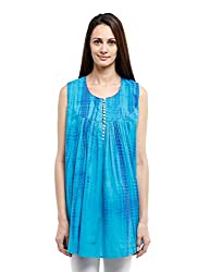 Fabindia Women's Tie Dye Tunic (10301743_Turquoise and Blue_Large)