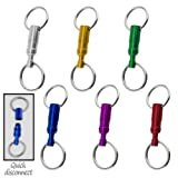 6pc Pull-Apart Quick Release Aluminum Keychain Set - Six Fun Colors
