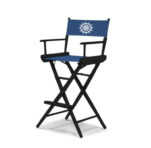 Telescope Casual World Famous Bar Height Director Chair, Black Finish With Marine Blue And White Motif Cover