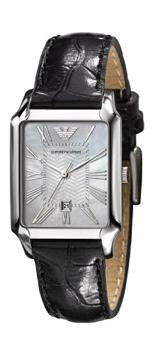 Emporio Armani Ladies Rectangular Case White Mother Of Pearl Dial Black Leather Strap Watch