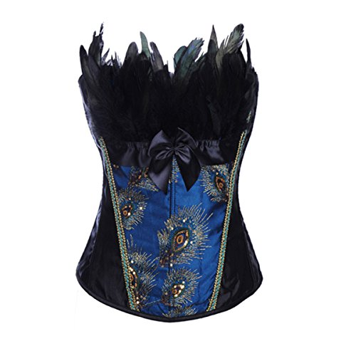 Peacock Lace up Corset Bustier Top Christmas Party Costume