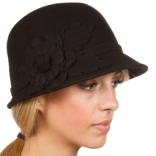 Sakkas Clara Vintage Style Wool Cloche Bucket Bell Hat
