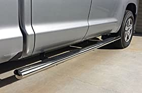 MaxMate Custom Fit 07-14 2014 Toyota Tundra Double Cab 4 inch Oval Stainless Steel Side Step Rails Nerf Bars Running Boards (2pcs with Mounting Bracket Hardware Kit)
