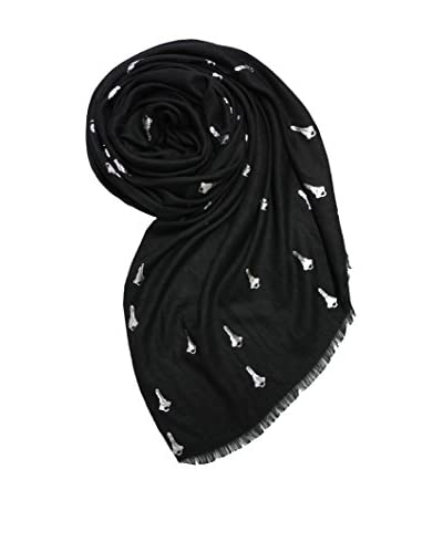 Printed Village Women's Metallic Key Scarf, Black/Silver