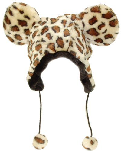 Super fake fur Brown spot leopard Print Hat With ears And Pom Poms-One size Adults ,Would fit older children too, Fully lined .Fun hat for the coldest of Winter weather ,Fancy dress etc ..