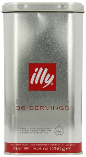 Shop for illy Tin of 36 Classic Roast Ground Coffee Servings (Pack of 1, Total 36 Pods) by Eurdh