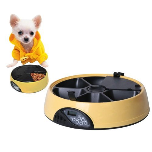Fuloon Durable Abs Lcd Digital Automatic Pet Feeder 6 Meals For Cats Dogs Set 6 Different Feeding Times Record Personal Message Build-In Clock Microphone Speaker And Low Battery Indicator Yellow New