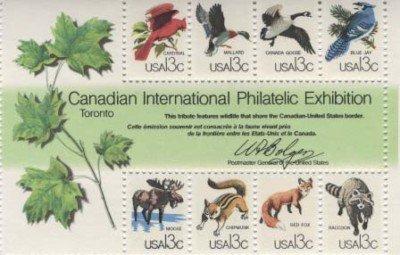 Capex Wildlife souvenir Sheet 8 x 13 cent US stamps