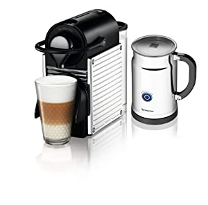 Nespresso A+C60-US-SS-NE Pixie Espresso Maker with Aeroccino Plus Milk Frother, Chrome