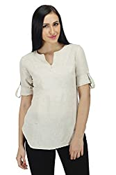 Women Solid Beige Tunic (Large)