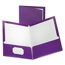 TwoPocket Laminated Folder 100Sheet Capacity Metallic Purple
