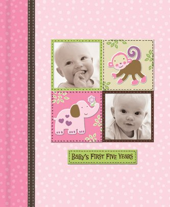 Silly Monkey Baby Girl - Baby's First Five Years Keepsake Record Book with Storage Box 5742600 - 1