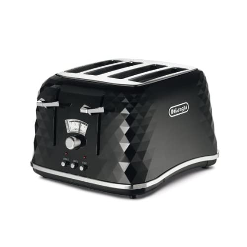 De'Longhi CTJ4003.BK Brillante Faceted 4-Slice Toaster - Black