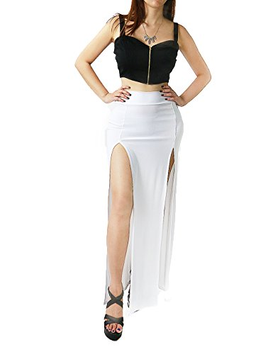 Sexy Double Slits Maxi Long Skirt For Women (Large, White-D1756)