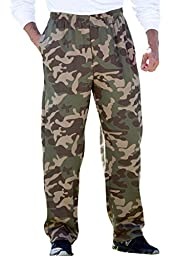 Kingsize Men\'s Big & Tall Fleece Open-Bottom Pants, Olive Camo Tall-4Xl
