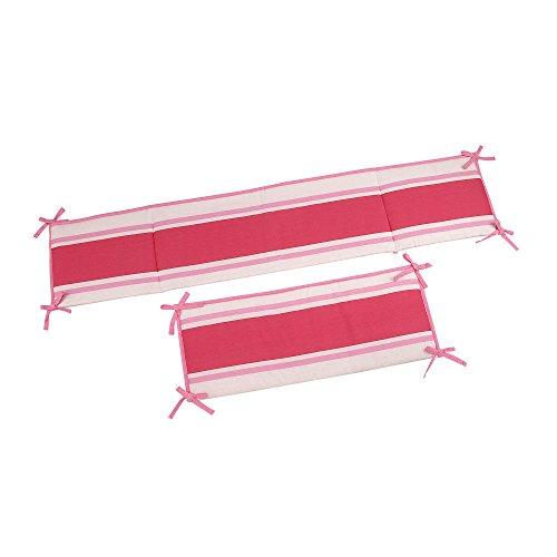 Sadie & Scout - Pink Stripe 4pc Crib Bumper. - 1