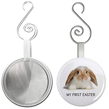 My First Easter Bunny Glass Mirror Backed Ornament