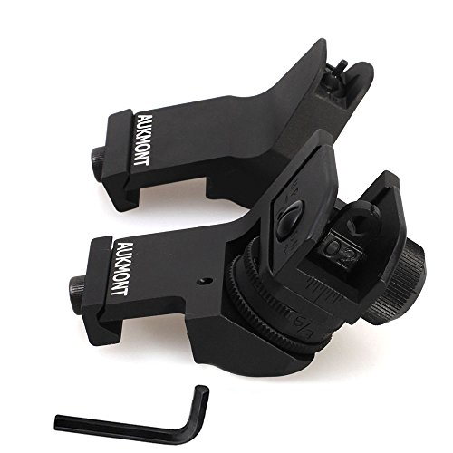 Why Choose Aukmont Front Iron Sights AR15 Tactical 45 Degree Offset Backup Rapid Transition BUIS wit...