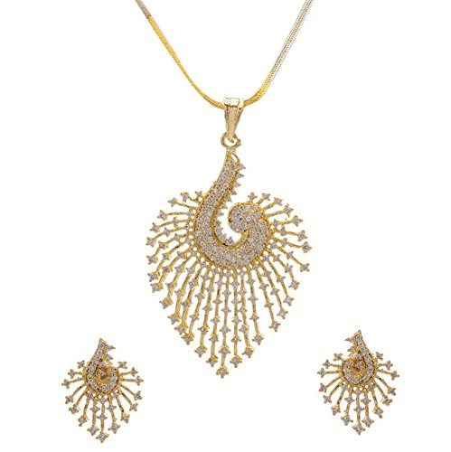 YouBella CZ Designer Peacock Pendant Set with Chain and Earrings for Girls and Women