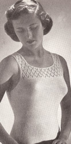 Vintage Knitting PATTERN to make - Knitted Camisole Under Shirt Vest Shell. NOT a finished item. This is a pattern and/or instructions to make the item only.