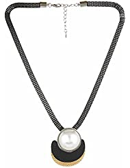 "Dee Glits Presents ""Special LOVE"" Collection Black Beaded Metal Thread Necklace With Large Pearl Pendant For Women..."
