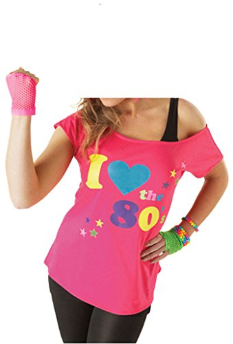 Deluxe I Love The 80's Ladies Pop Star T-Shirt Pink Sexy Retro Top - Sizes 8 to 20