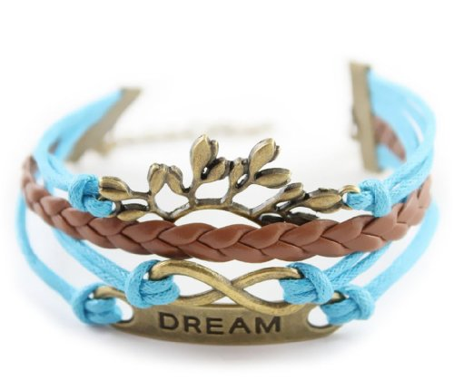 Fashionwu Women's Antique Bronze Plated Tree Branch Rope Leather Bracelet - Blue
