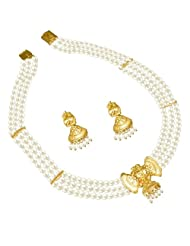Surat Diamonds Bow Shaped Gold Plated Pendant & 3 Line Freshwater Pearl Necklace & Earring Set For Women