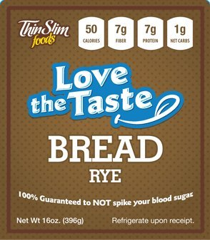 ThinSlim Foods 50 Calorie, 1g Net Carb, Love-The-Taste Low Carb Bread Rye (Low Carb Breads compare prices)