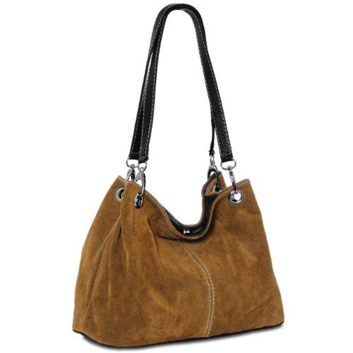 CASPAR Womens Classic Suede Leather Shoulder Handbag TL621
