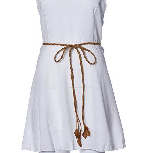 DDLBiz Women Girls Leaves Weave Leather Waist Belt Waist Chain (Brown)