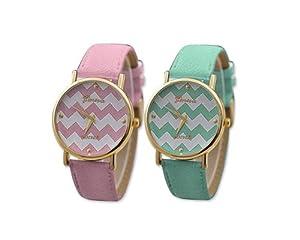 Shopready 2Pcs Women Lady Girl Unisex Geneva Chevron Style PU Leather Wave Pattern Wrist Watch - Pink + Green