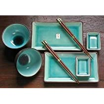 Japanese 8 Pc Plate Rice Bowl & Wasabi Set with Chopsticks