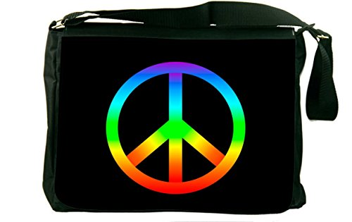 Rikki Knighttm Rainbow Peace Sign On Black Messenger Bag - Shoulder Bag - School Bag For School Or Work