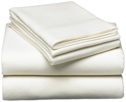 Pinzon 160-Gram Solid 100-Percent Cotton Flannel Sheet Set, Queen, Cream front-1058704