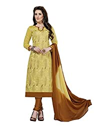 MS trends Women's Cotton Unstitched Dress Material(Aashiqui gold 61015_Beige_Free Size)