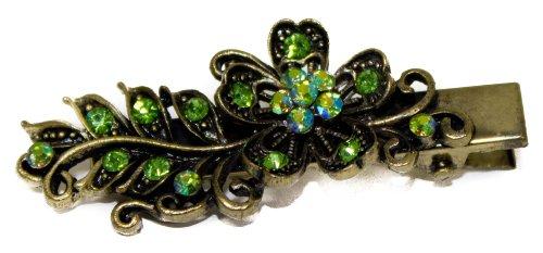 Vintage Glitter Green Crystal Flower On 5cm Gold Beak Clip - Green