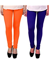 BrandTrendz Orange And Blue Cotton Pack Of 2 Leggings