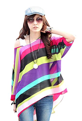 Am Clothes Womens Summer Bohemian Chiffon Super Loose Casual Top Blouse One Size front-389784