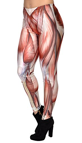 BadAssLeggings Women's Muscle Anatomy Leggings 4XL (Skinless Meat compare prices)