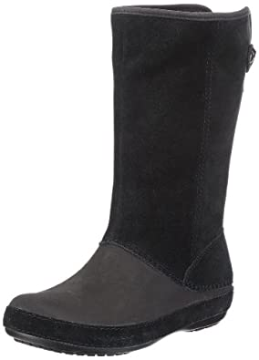 Crocs Women's Berryessa Suede Boot,Black/Black,3 M US
