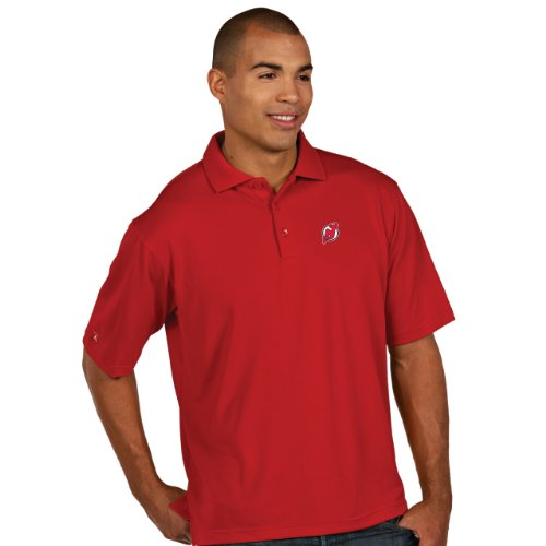 Nhl New Jersey Devils Men'S Pique Xtra Lite Polo, Dark Red, X-Large