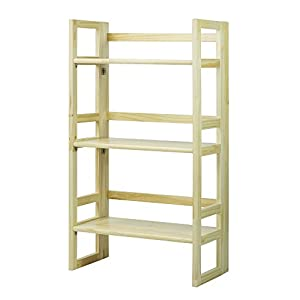 casual home 3 tier folding student bookcase wide natural kitchen dining. Black Bedroom Furniture Sets. Home Design Ideas